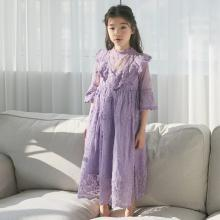 诗茵夏季韩版中大童女童装蕾丝纯色长袖连衣裙童裙INS公主裙 8097069