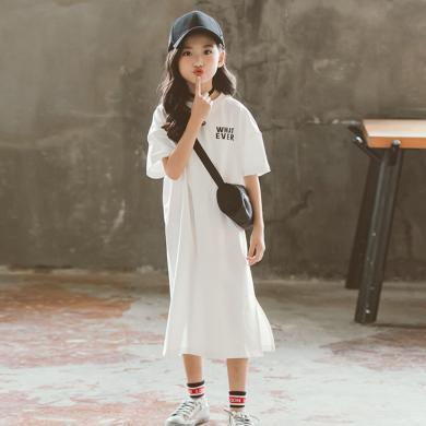 ocsco 女童连衣裙夏季新款时尚韩版字母印花童装T恤裙宽松显瘦亲子装女