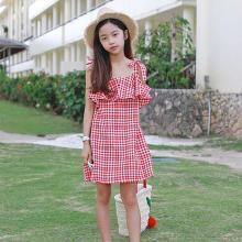 ocsco 夏季新款童裝時尚系結吊帶裙可愛甜美修身荷葉邊格子女童連衣裙