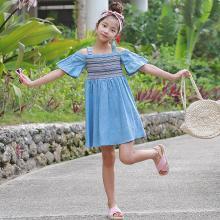 ocsco 夏季新款時尚民族風女童連衣裙小清新甜美短袖露肩中大童吊帶裙女