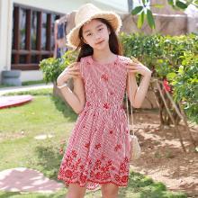 ocsco 女童連衣裙夏季新款中大童時尚刺繡條紋無袖童裝裙親子裝女