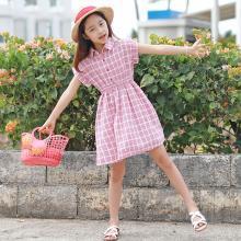 ocsco 夏季新款修身百搭時尚女童連衣裙可愛甜美格子立領童裝裙女