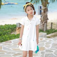 ocsco 女童連衣裙夏季新款時尚舒適POLO領運動風中大童短袖童裝裙女