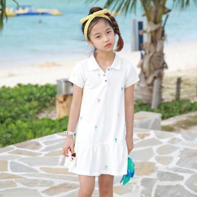ocsco 女童连衣裙夏季新款时尚舒适POLO领运动风中大童短袖童装裙女