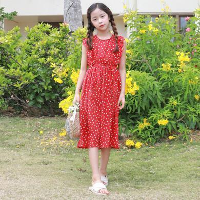ocsco 夏季新款女童装雪纺裙甜美修身荷叶边无袖波点中大童连衣裙女