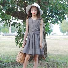 ocsco 夏季新款时尚复古格子童装连衣裙后背系带无袖中大童背心裙女