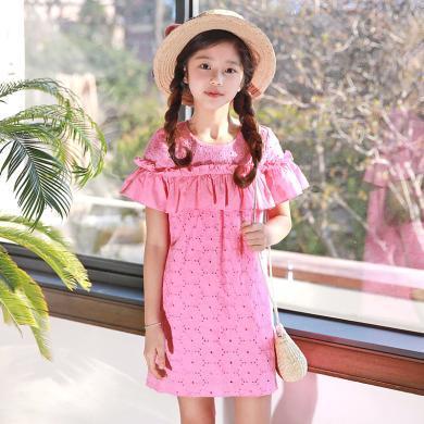 ocsco 童装夏季新款清新甜美小女孩公主裙修身气质荷叶袖女童连衣裙