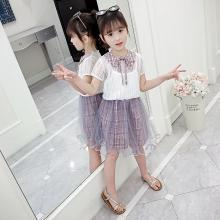 宁可缘2019新款女童夏装套裙韩版童装中大童网红超洋气格子裙短袖两件套19050705
