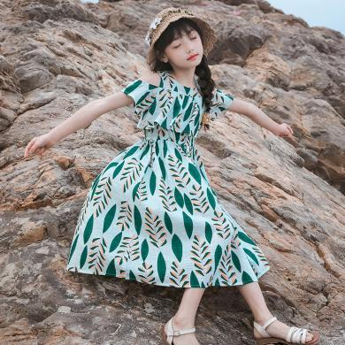 ocsco 女童沙灘裙夏季新款海邊度假時尚露肩短袖中大童印花連衣裙女