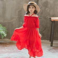 ocsco 夏季新款時尚不規則荷葉邊女童連衣裙氣質露肩寬松掛脖公主裙女