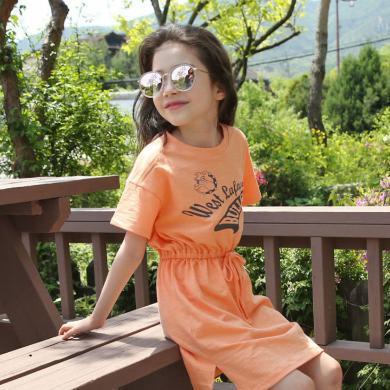 詩茵夏季短袖純棉印花女童連衣裙休閑時尚韓版童裝收腰修身兒童裙子81025