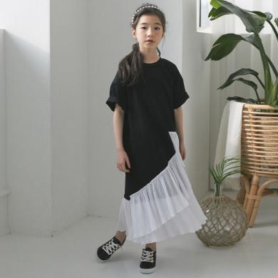 詩茵夏季新款時尚休閑黑白撞色女童短袖連衣裙中大童親子裝 80978
