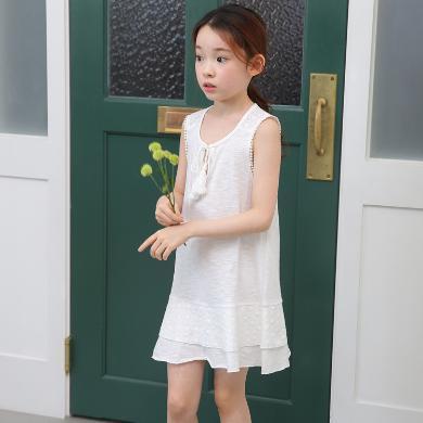 诗茵夏季新款韩版童装休闲时尚无袖纯棉女童背心连衣裙子中大童公主裙81016