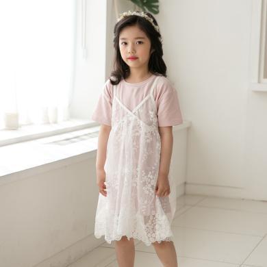 詩茵新款女童百搭吊帶蕾絲裙仙女范公主裙親子裝 80623-80622