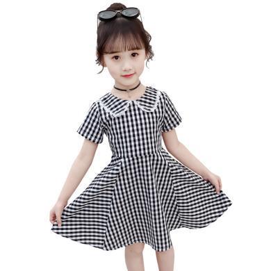 美純衣天使2019新款夏裝短袖格子裙洋氣女孩時尚淑女翻領棉質裙MC方格娃娃領裙