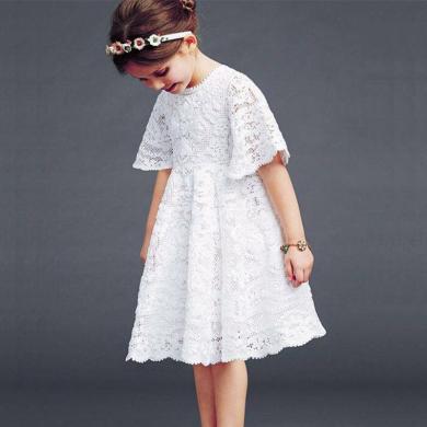 ocsco 夏季新款女童连衣裙韩版中大童短袖气质蕾丝公主裙亲子装女