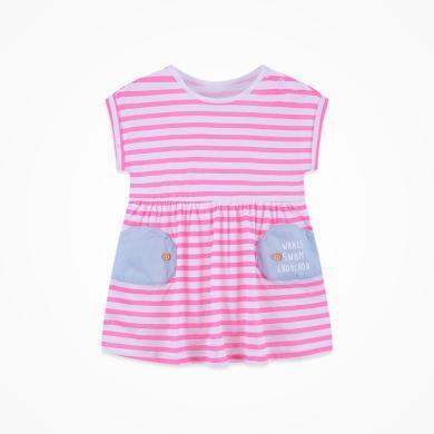 丑丑嬰幼 女寶寶可愛短袖連衣裙夏季新款女童純棉休閑條紋連衣裙 CNE364X