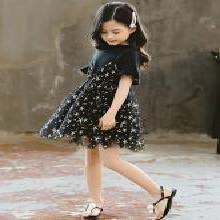 美纯衣天使2019夏款女童装韩版中大童假两件套星星公主裙子MLK1932
