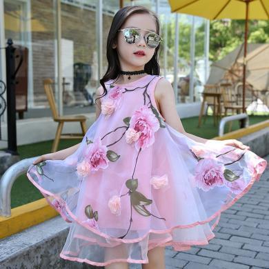 美純衣天使新款女童連衣裙夏裝公主裙歐根紗時尚潮流休閑花朵背心裙蓬蓬裙子MC花仙子