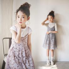 诗茵韩版儿童童装夏款蕾丝吊带女童连衣裙中大童衣服亲子装80213
