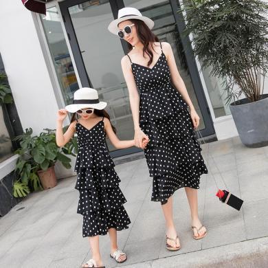 ocsco 親子裝連衣裙夏季新款氣質時尚收腰顯瘦波點蛋糕吊帶裙母女裝