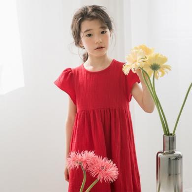 詩茵夏季新款童裝百褶寬松短袖女童連衣裙子韓版兒童衣服80598