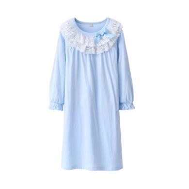兒童睡衣全棉 寶寶睡裙蕾絲花邊女童睡裙韓版家兒童居服