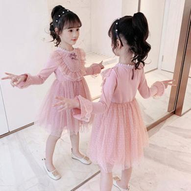 铭佳童话2019新款女童装儿童洋气公主裙子中大童女孩韩版女大童长袖连衣裙N9358QZ139