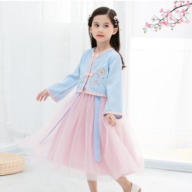 谜子 春秋装新款中小童仙女裙时尚中国风拼接汉服女童连衣裙