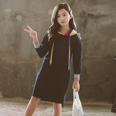 谜子 女童卫衣裙春秋装新款儿童中长款时尚连帽牛仔连衣裙女
