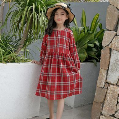 ocsco 童装连衣裙秋季新款女童格子裙长袖裙子宽松中长裙中大童童装