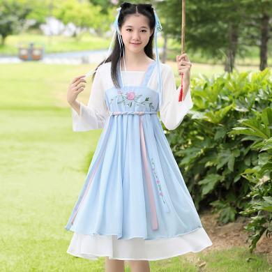 谜子 女童连衣裙夏季新款中国风改良汉服古装仙女风少女连衣裙