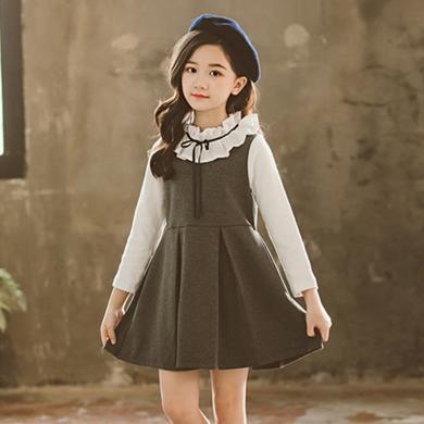 ocsco 女童連衣裙春秋裝新款時尚韓版假兩件氣質木耳邊長袖小女孩公主裙