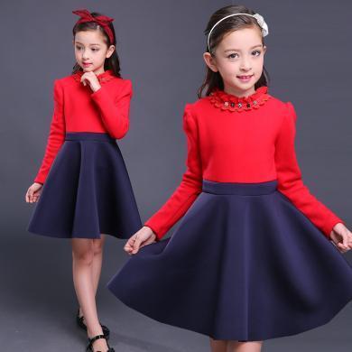 謎子 女童連衣裙秋冬裝新款童裝裙子木耳花邊短裙加絨連衣裙拼接裙子