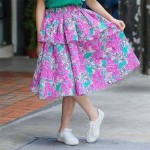 ocsco 女童碎花半身裙夏季新款中大童寬松公主裙時尚印花松緊腰童裝裙女