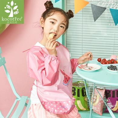 KK樹寶寶罩衣秋冬小孩長袖男童女童吃飯防水反穿兒童圍裙畫畫圍兜女孩 KQ16019 包郵