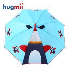 hugmii兒童雨傘男童女童創意立體造型直桿手開雨傘透明窗口