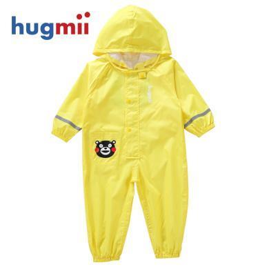 hugmii兒童連體雨衣熊本熊酷MA萌卡通男女童透氣小孩學生幼兒雨衣