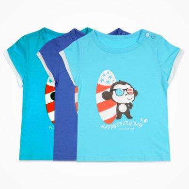 丑丑嬰幼男童圓領T恤上衣夏季新款男寶寶休閑時尚T恤男寶上衣CFE229T