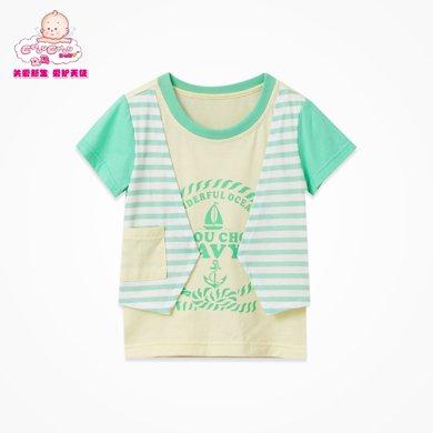 丑丑婴幼 男童纯棉假两件T恤夏季新款男宝宝休闲百搭圆领上衣 CFE243X