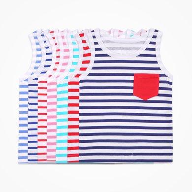 丑丑嬰幼男童背心T恤上衣夏季新款男寶寶條紋無袖背心男寶T恤 CHE401T