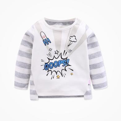 丑丑嬰幼 秋季新款男童肩開上衣男寶寶長袖T恤1-4歲 CME213X