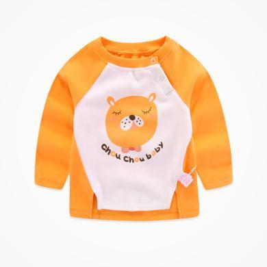 丑丑嬰幼 男寶寶圓領肩開上衣春秋新款男童長袖可愛卡通T恤1-4歲 CME215X