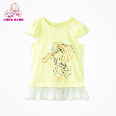 丑丑婴幼女童上衣T恤 夏季新款女宝宝韩版蕾丝T恤女宝宝上衣