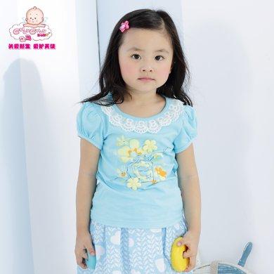 丑丑婴幼女童上衣T恤夏季新款女宝宝短袖圆领T恤上衣T恤1-4岁