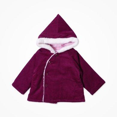 丑丑嬰幼 女寶寶可愛棉衣冬季女童斜開夾棉連帽棉衣 1-4歲CKE696X