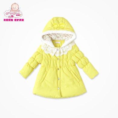丑丑婴幼 冬?#20061;?#23453;宝可爱棉衣女童防风保暖前开连帽棉衣外套1-5岁