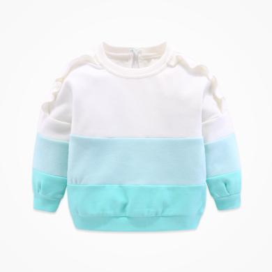 丑丑嬰幼 女童秋季新款長袖拼色T恤女寶寶拼接圓領上衣1-4歲 CME270X