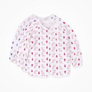丑丑婴幼 男女宝宝前开上衣纯棉长袖内服家居服上衣3个月--1岁半 CGD202T