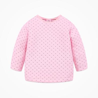 丑丑嬰幼 女寶寶夾絲棉圓領T恤秋季女童后半開保暖上衣 CIE237T